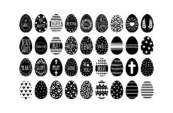 Easter eggs collection with black geometry pattern royalty free illustration