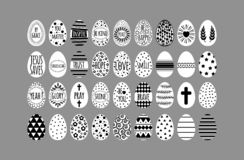 Easter eggs collection with black geometry pattern vector illustration