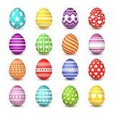 Easter eggs collection. Christian resurrection tradition happy easter celebration egg with colorful pattern vector. Isolated set vector illustration