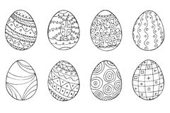Easter eggs collection in doodle style. Hand drawn vector. Illustration royalty free illustration