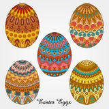 Easter eggs collection. Easter egg decorated with pattern, easter background vector illustration