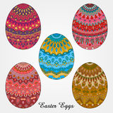 Easter eggs collection. Easter egg decorated with pattern, easter background stock illustration