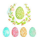 Easter Eggs Collection with Flowers Decoration in Royalty Free Stock Photo