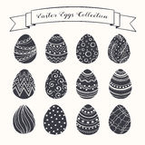 Easter eggs collection. Hand drawn Easter eggs collection. Doodle eggs with zentangle ornaments black on white background. Set of whimsical Easter eggs in sketch stock illustration