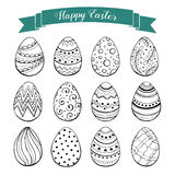 Easter eggs collection. Hand drawn Easter eggs collection. Doodle eggs with zentangle ornaments black on white background. Set of whimsical Easter eggs in sketch vector illustration