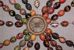 Easter eggs collection pattern 04. Easter eggs collection of various designs in Easter Egg Museum in Kolomyia, Ukraine stock photos