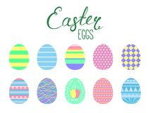 Easter eggs collection. Set of flat style cute cartoon Easter eggs. Isolated objects on white. Vector illustration. Festive design elements. Concept for greeting royalty free illustration