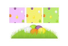 Easter eggs collection. Vector. Easter Eggs on grass field and Easter pattern Stock Photography