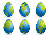 Easter eggs collection with world map Royalty Free Stock Images