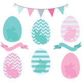 Easter Eggs Collections.Eggs pattern,Bunting,Banner. Royalty Free Stock Images