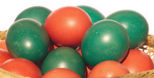 Easter eggs with color painted shells closeup Stock Photo