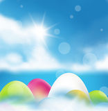 Easter eggs color and sunshine Stock Photos