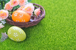 Easter eggs. Color easter eggs on a table, easter background Royalty Free Stock Image