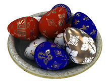 Easter Eggs colored with gold. Royalty Free Stock Photography