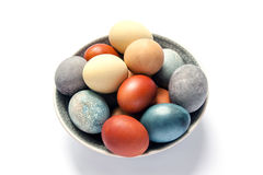 Easter eggs colored with natural paints Stock Image