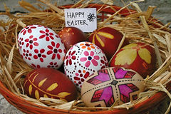Easter eggs. Colored with onion peel and painted Royalty Free Stock Images