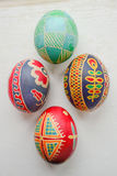 Easter eggs. Colored painted Easter eggs handmade Stock Images