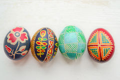 Easter eggs. Colored painted Easter eggs handmade Stock Photography