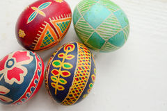Easter eggs. Colored painted Easter eggs handmade Royalty Free Stock Photography