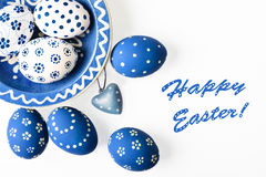 Easter eggs colored white and blue Royalty Free Stock Photography
