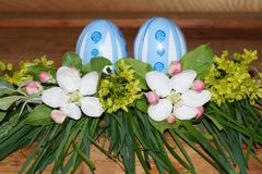 Easter eggs and colorfol flowers Royalty Free Stock Images