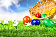 Easter eggs. Easter colorful eggs in the basket Stock Photo