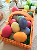 Easter eggs. Colorful basket of easter eggs Royalty Free Stock Images