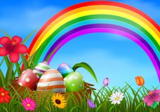 Easter eggs and colorful in the basket. Illustration of Easter eggs and colorful in the basket stock illustration