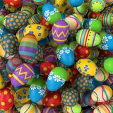 Easter eggs, colorful collection of painted easter eggs. Big pile of Easter eggs, colorful collection of painted easter eggs, 3D rendering royalty free illustration
