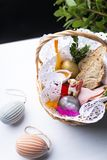 Easter eggs, colorful Easter decorations in a basket. royalty free stock image