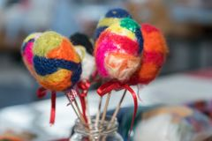 Easter eggs with colorful felt royalty free stock image