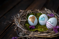 Easter eggs. Colorful Easter eggs in a nest Royalty Free Stock Images