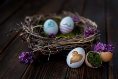 Easter eggs. Colorful Easter eggs in a nest Stock Photography
