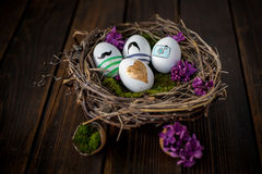 Easter eggs. Colorful Easter eggs in a nest Royalty Free Stock Photos