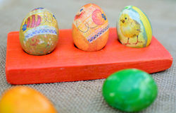 Easter eggs. Colorful easter eggs painted in decoupage technique Royalty Free Stock Photography