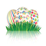 Easter eggs with colorful patterns Stock Photo