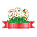 Easter eggs with colorful patterns Royalty Free Stock Images