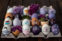 Easter eggs. Colorful Easter eggs in purple color Stock Images