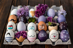 Easter eggs. Colorful Easter eggs in purple colors Royalty Free Stock Photo