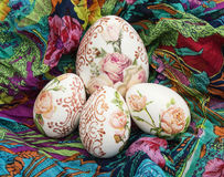 Easter eggs and colorful scarf Royalty Free Stock Photography