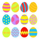 Easter eggs colorful set. Isolated. Stock Photos