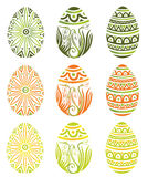 Easter, eggs. Colorful easter eggs, vector set Stock Images