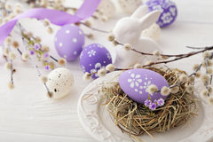 Easter eggs. Colorful easter eggs and willow branches Stock Images