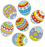Easter eggs. Colorfully decorated eggs for Easter holiday, on a white background Stock Images
