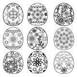Easter eggs for coloring book. Hand drawn easter eggs for coloring book for adult and children for design elements Stock Photography