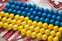 Easter eggs in colors and shape of Ukraine flag Stock Photo