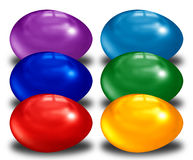Easter eggs in colors. Six easter eggs in a row Royalty Free Stock Photo