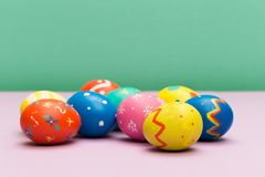 Easter eggs on colour background - Image royalty free stock photo