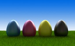 Easter eggs coloured in cmyk Royalty Free Stock Photography