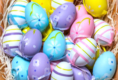 Easter Eggs. Colourful Easter Eggs in a basket Stock Photography